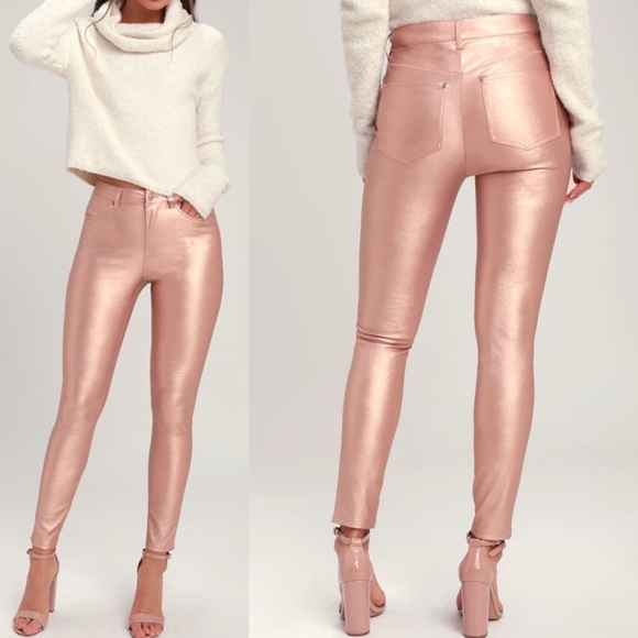 28d6c65bdc03e6 Free People Pants | Rose Gold Vegan Leather Jeans | Poshmark
